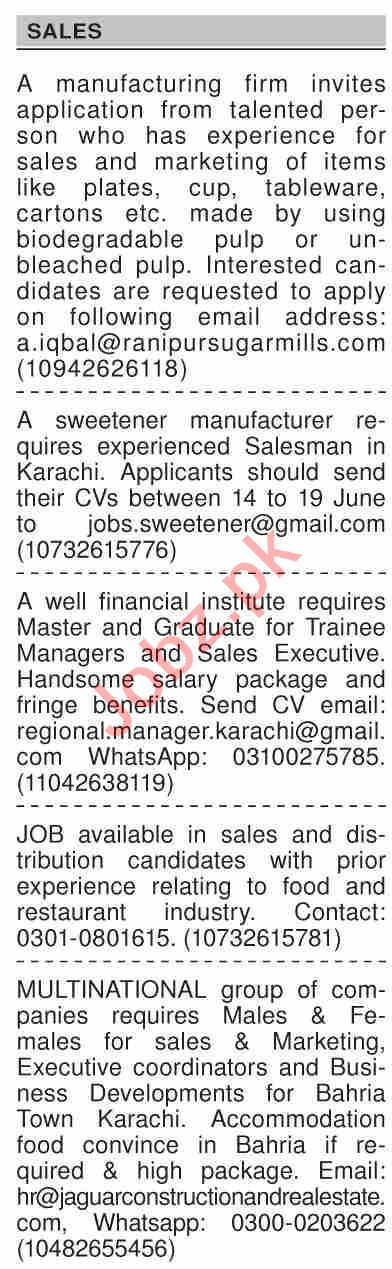 Dawn Sunday Classified Ads 13 June 2021 for Sales Staff