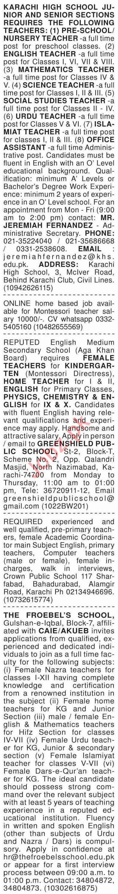 Dawn Sunday Classified Ads 13 June 2021 for Teaching Staff