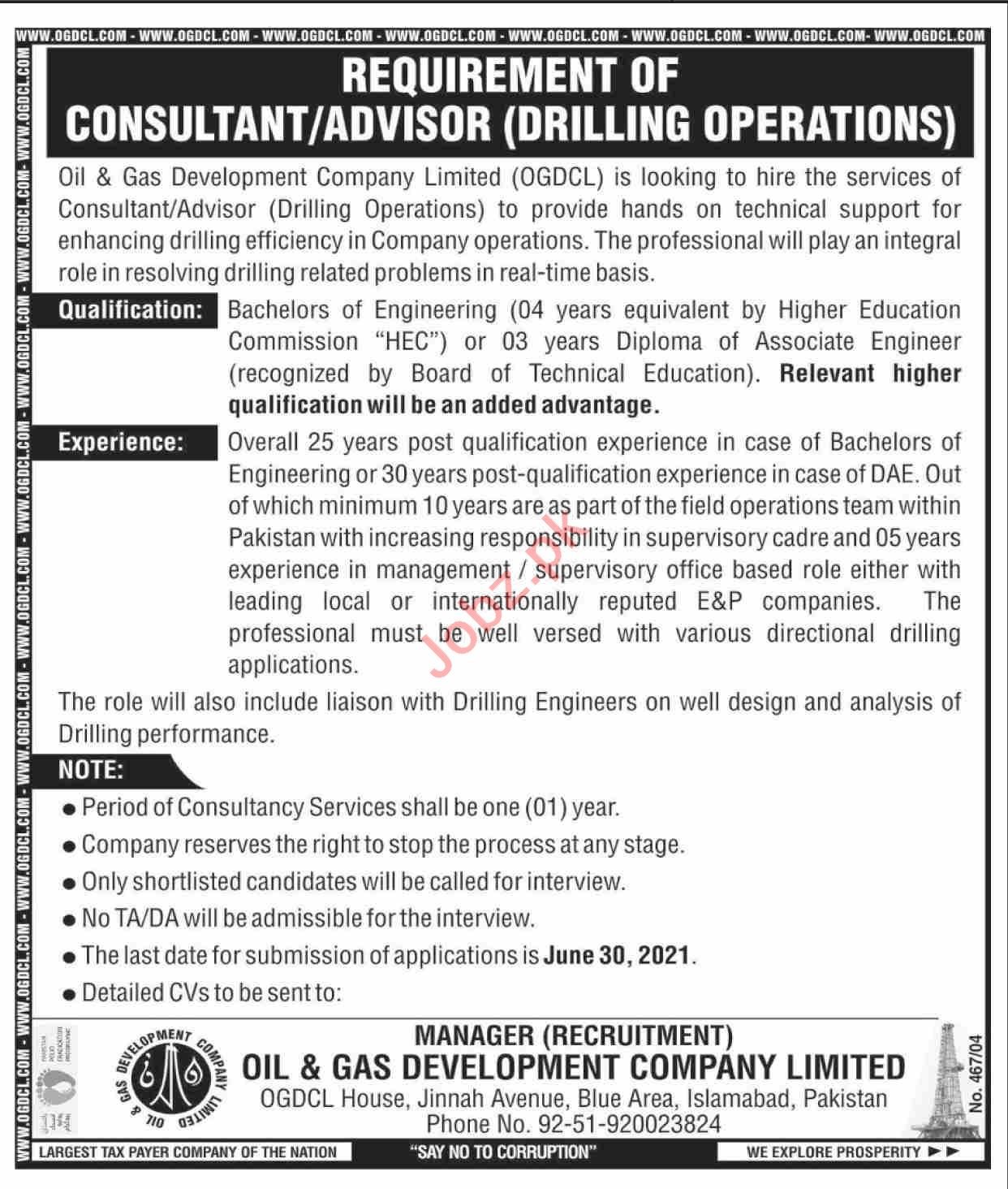 OGDCL Jobs 2021 for Drilling Operations Consultant