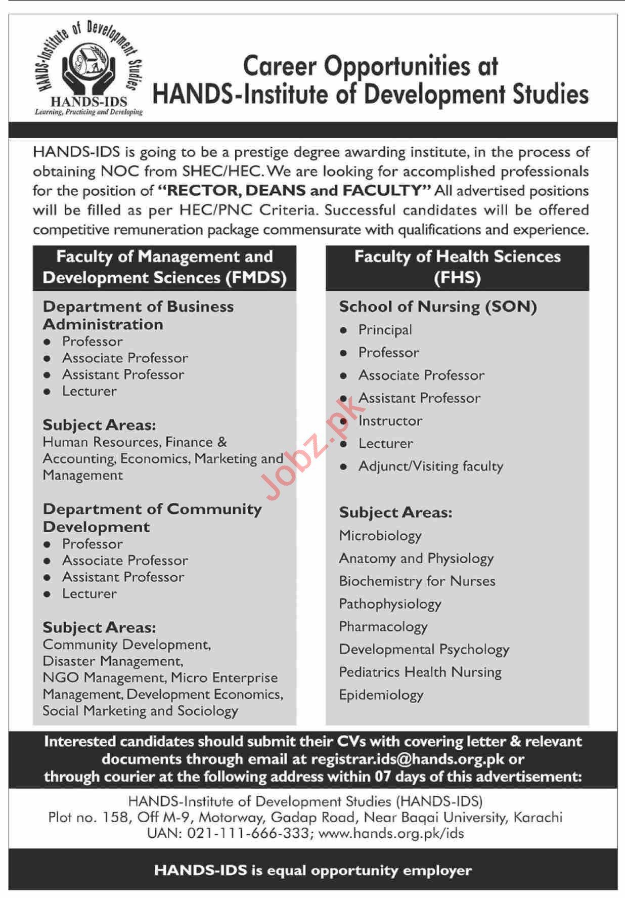 HANDS Institute of Development Studies Karachi Jobs 2021