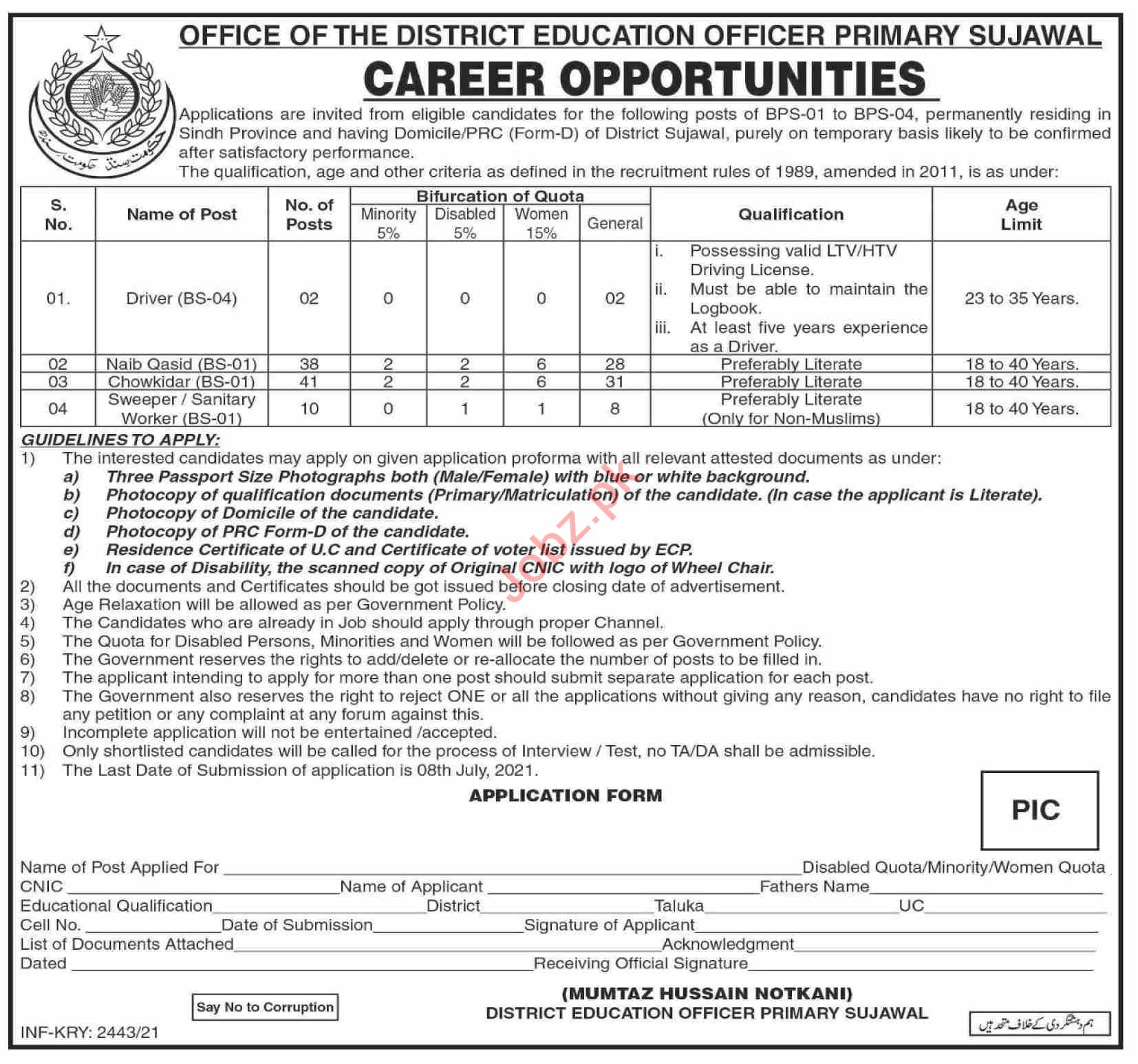 District Education Officer DEO Primary Sujawal Jobs 2021