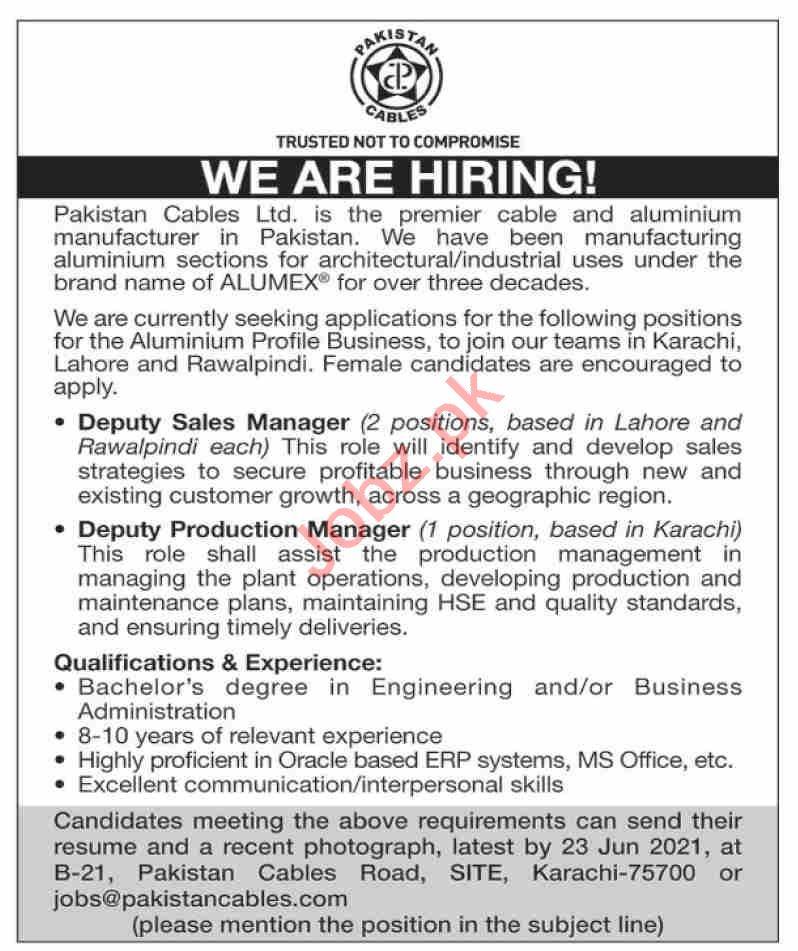 Pakistan Cables Karachi Jobs 2021 for Deputy Sales Manager