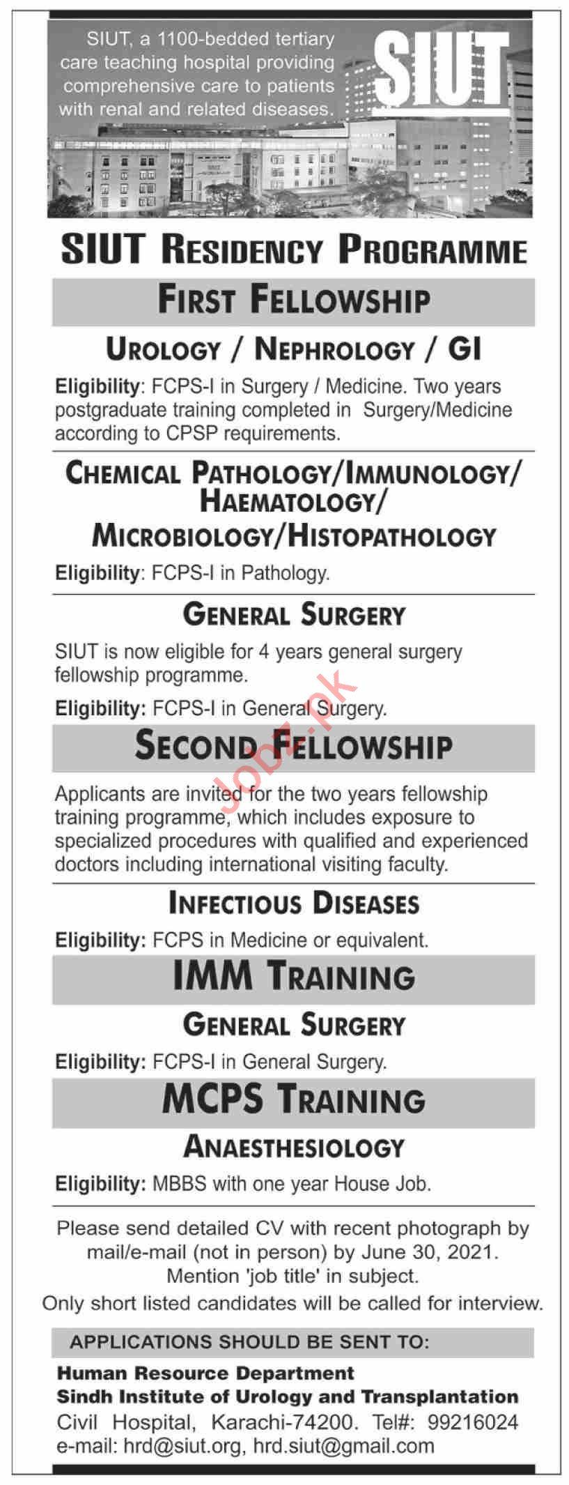 SIUT Karachi Jobs 2021 for General Surgery Consultant