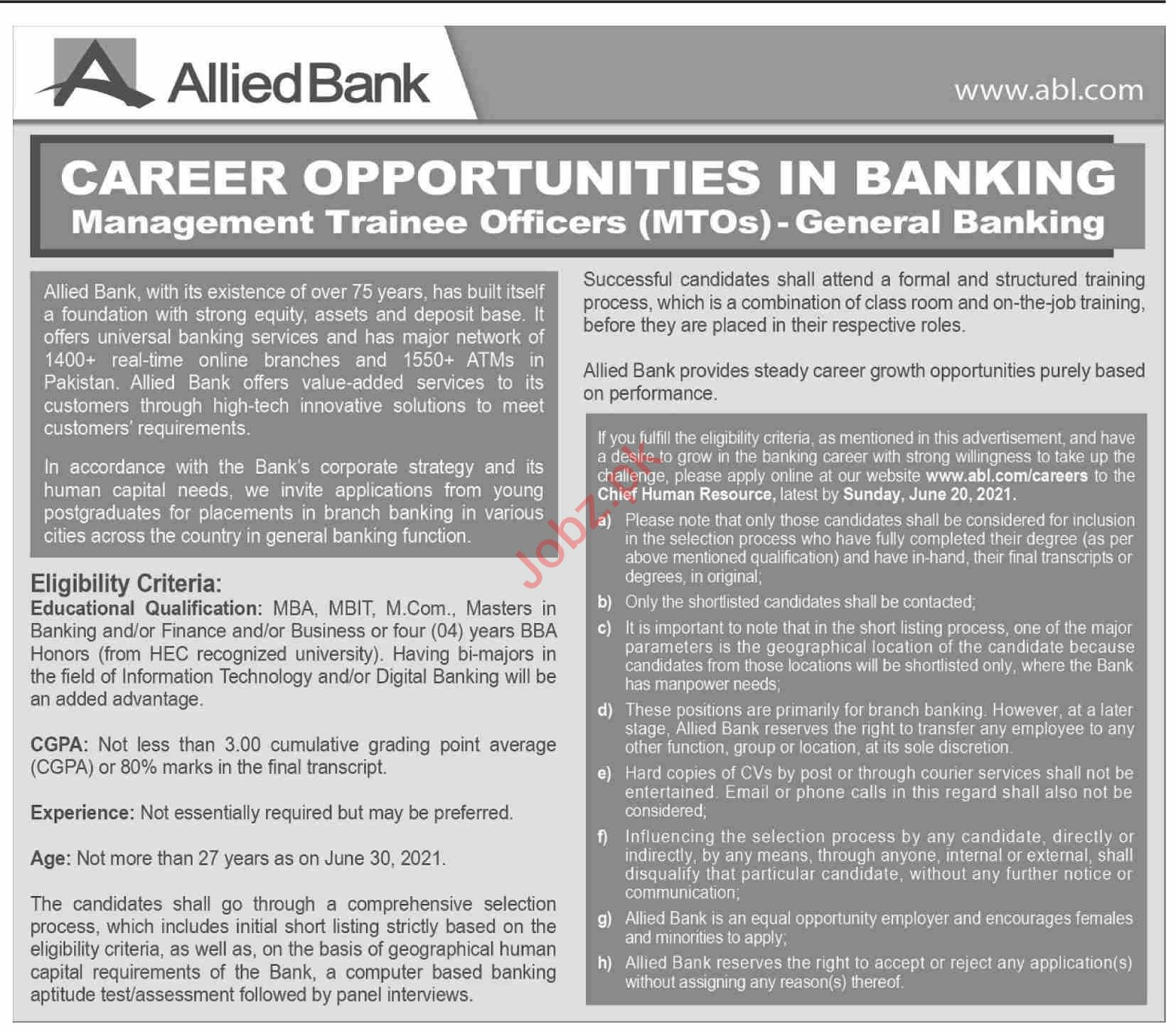 Allied Bank Limited ABL Jobs 2021 for MTOs Officer