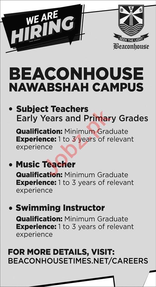 Beaconhouse Nawabshah Campus Jobs 2021 for Teachers