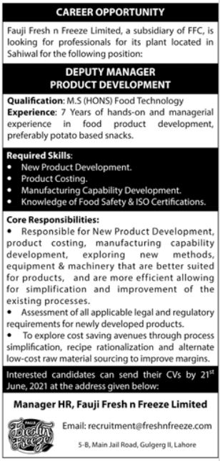 Deputy Manager Product Development Job 2021
