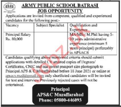 Army Public School & College APS&C Batrasi Jobs 2021