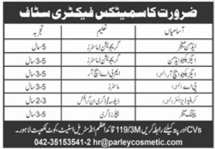Cosmetics Factory Staff Jobs 2021 in Lahore