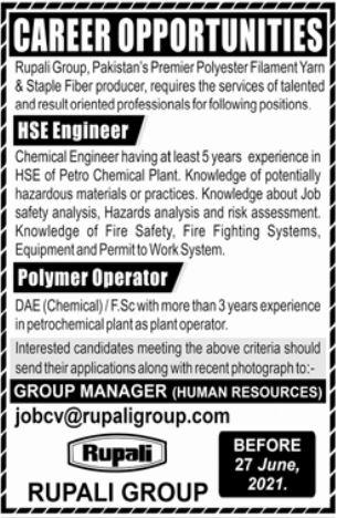 HSE Engineer & Polymer Operator Jobs 2021 in Lahore
