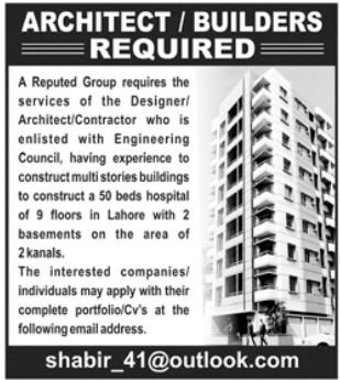 Architect & Builders Jobs 2021 in Lahore