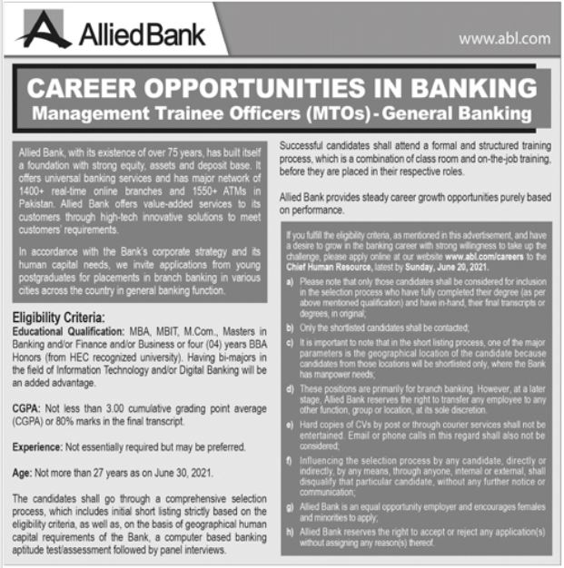 Allied Bank Limited ABL Jobs 2021 For Banking Officer