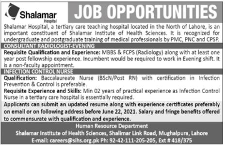 Shalamar Hospital Jobs 2021 For Medical Staff in Lahore