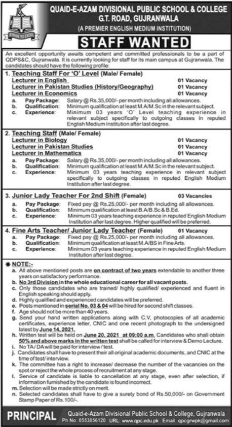 Quaid e Azam Divisional Public School & College Jobs 2021