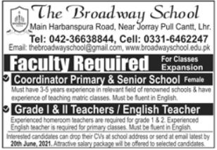 The Broadway School Faculty Jobs 2021 in Lahore