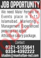 Manhattan Communications Islamabad Jobs 2021