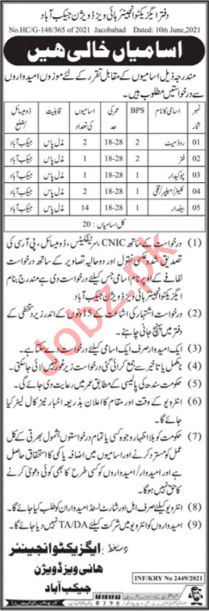 Provincial Highways Division Jacobabad Jobs 2021 for Fitter