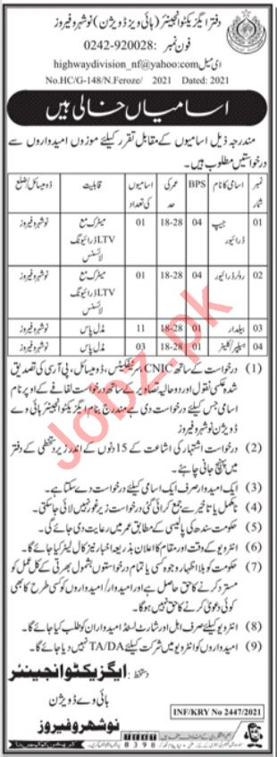 Provincial Highways Division Naushahro Feroze Jobs 2021
