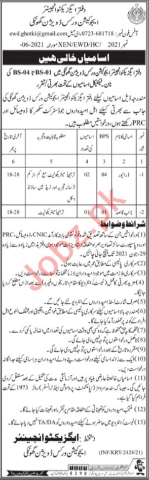 Education Works Division Ghotki Jobs 2021 for Drivers