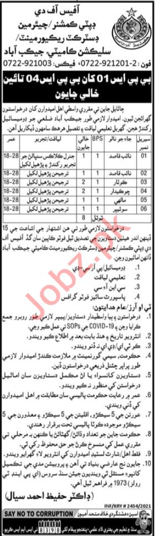 Recruitment & Selection Committee Jacobabad Jobs for Malhi