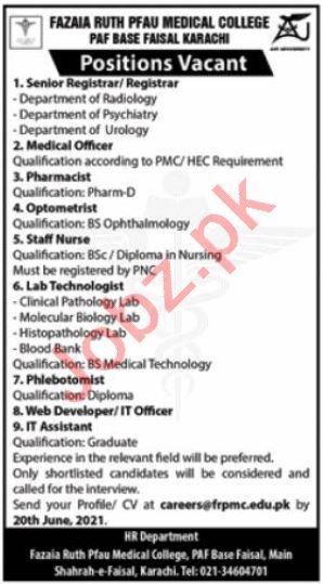 Fazaia Ruth Pfau Medical College FRPMC Karachi Jobs 2021