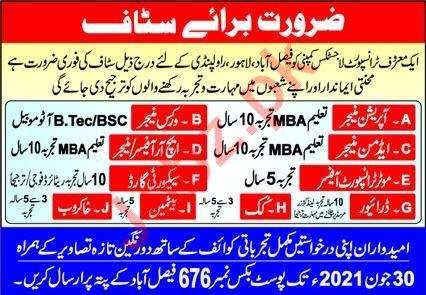 Motor Transport Officer & HR Manager Jobs 2021 in Faisalabad