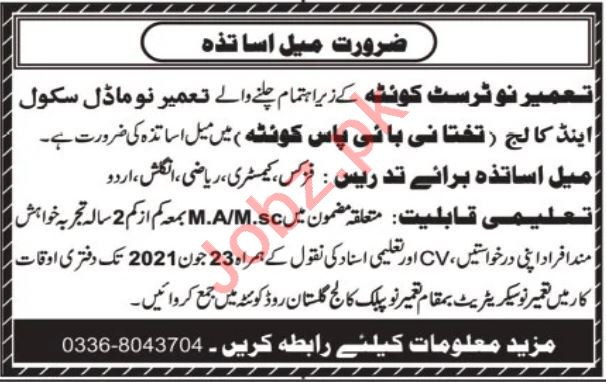 Tameer i Nau Trust Model School Quetta Jobs 2021 for Teacher