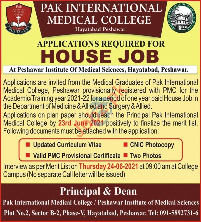 Pak International Medical College PIMC Peshawar House Jobs