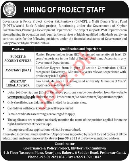 Governance & Policy Project GPP Jobs 2021 for Budget Officer