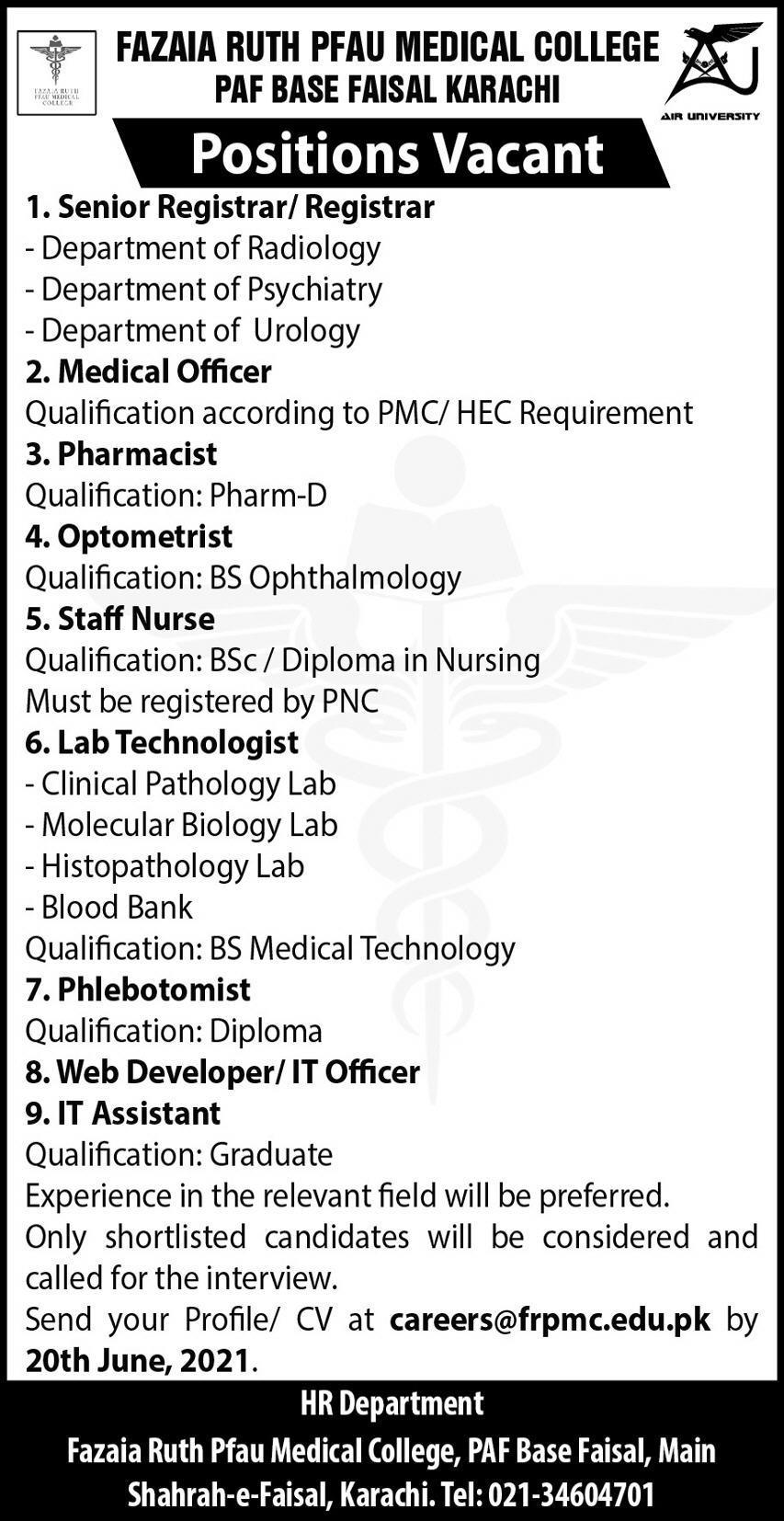 Fazaia Ruth PFAU medical College Karachi Jobs 2021