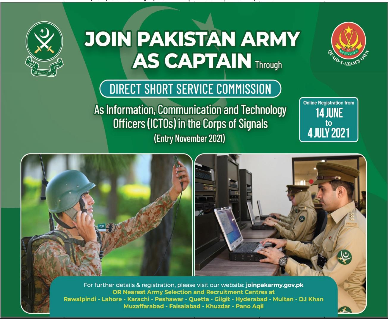 Join Pakistan Army as Captain through DSSC