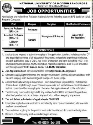 National University of Modern Language NUML Karachi Jobs