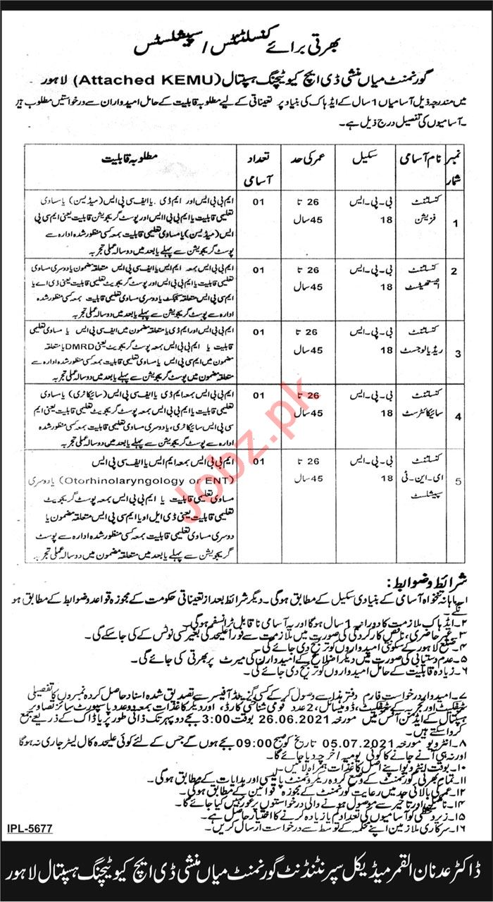 Govt Mian Munshi DHQ Teaching Hospital Lahore Jobs 2021