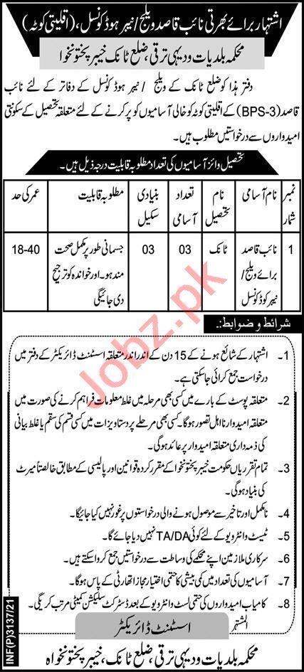 Local Government Elections & Rural Development KPK Jobs 2021