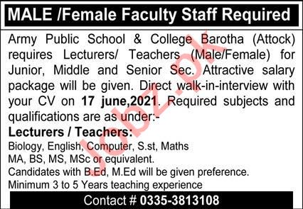 Army Public School & College APS&C Barotha Jobs 2021