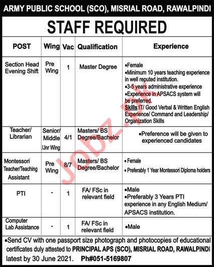 Army Public School APS SCO Misrial Road Rawalpindi Jobs 2021