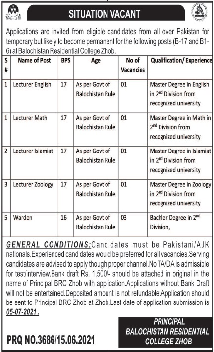 Balochistan Residential College Zhob Jobs 2021