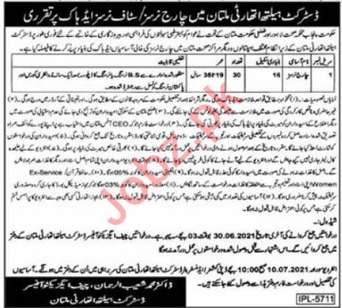 District Health Authority DEA Multan Jobs 2021 for Nurse