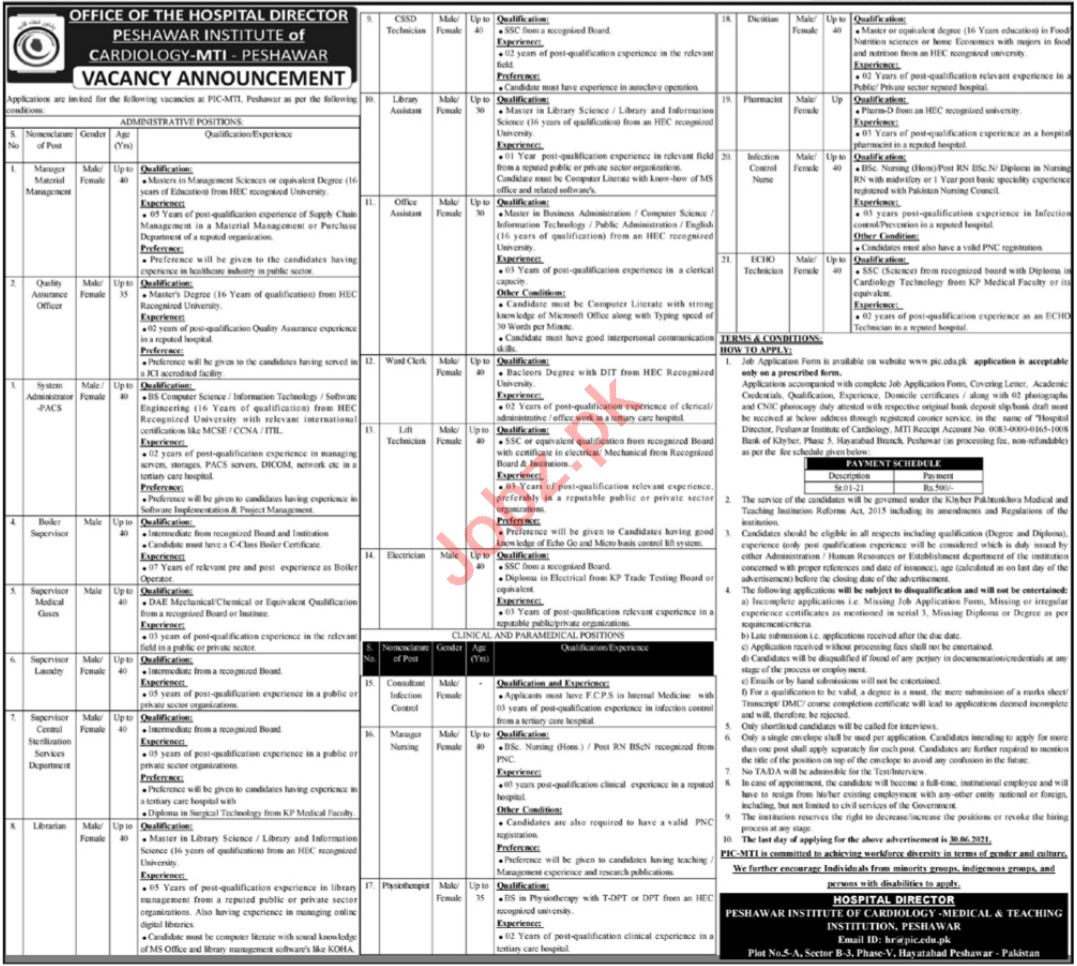 Peshawar Institute of Cardiology PIC Jobs 2021 Technicians