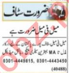Assistant Supervisor & HR Officer Jobs 2021 in Lahore