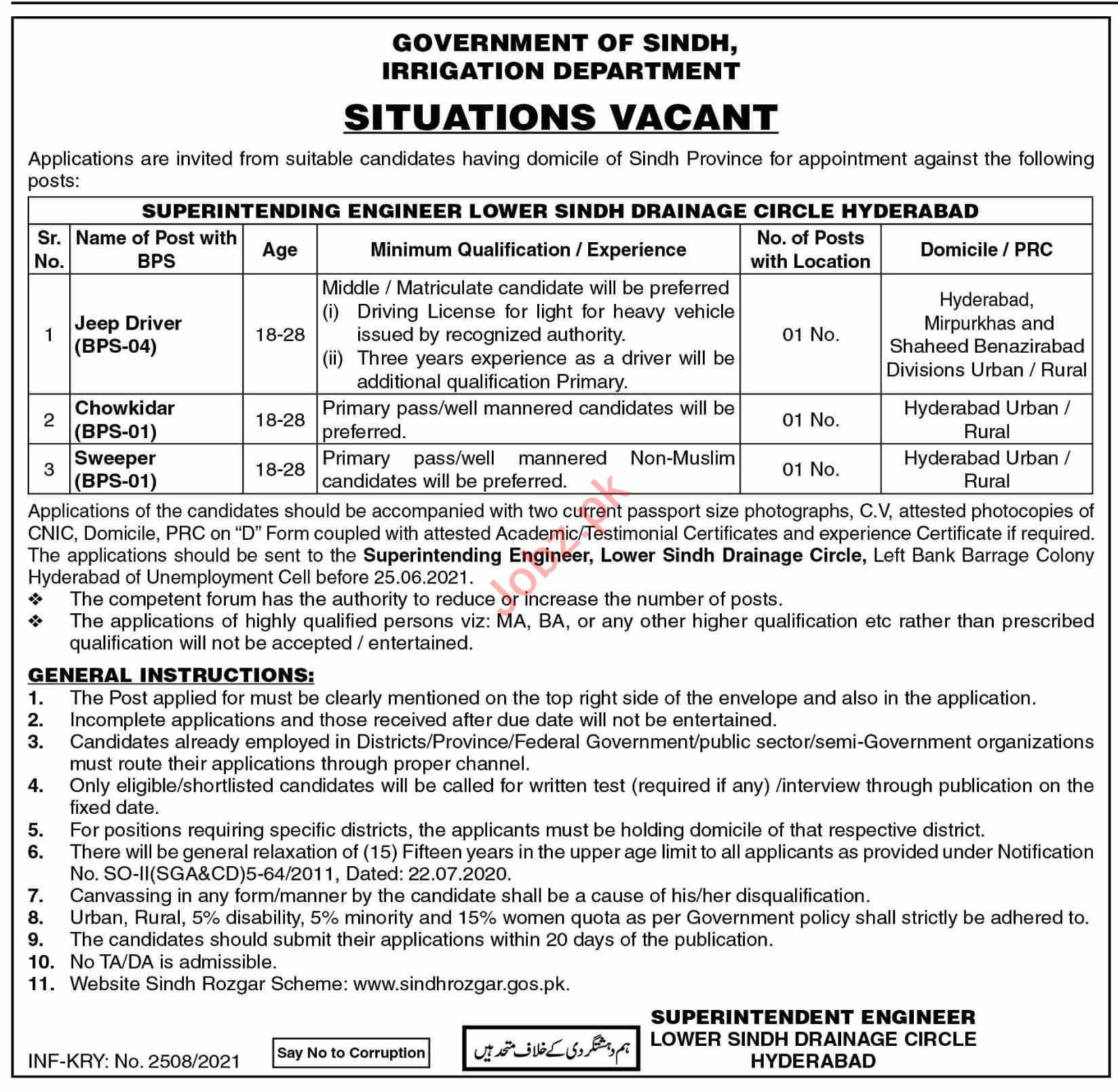 Lower Sindh Drainage Circle Hyderabad Jobs 2021 for Driver