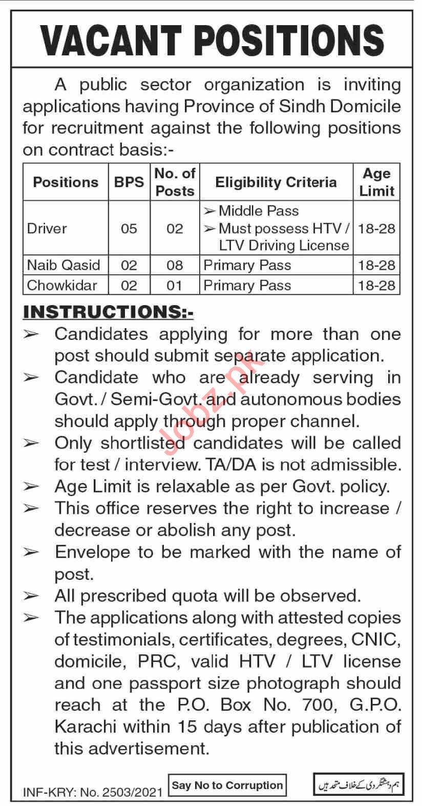 P O Box No 700 GPO Karachi Jobs 2021 for Naib Qasid
