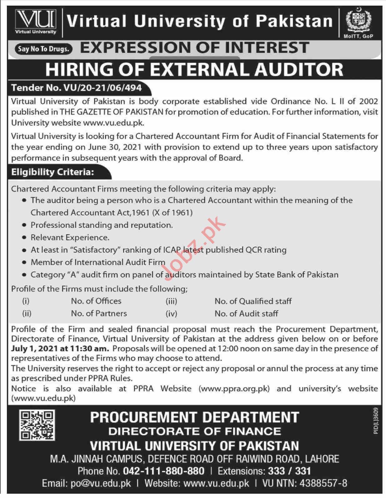 Virtual University of Pakistan VU Jobs 2021 for Auditors