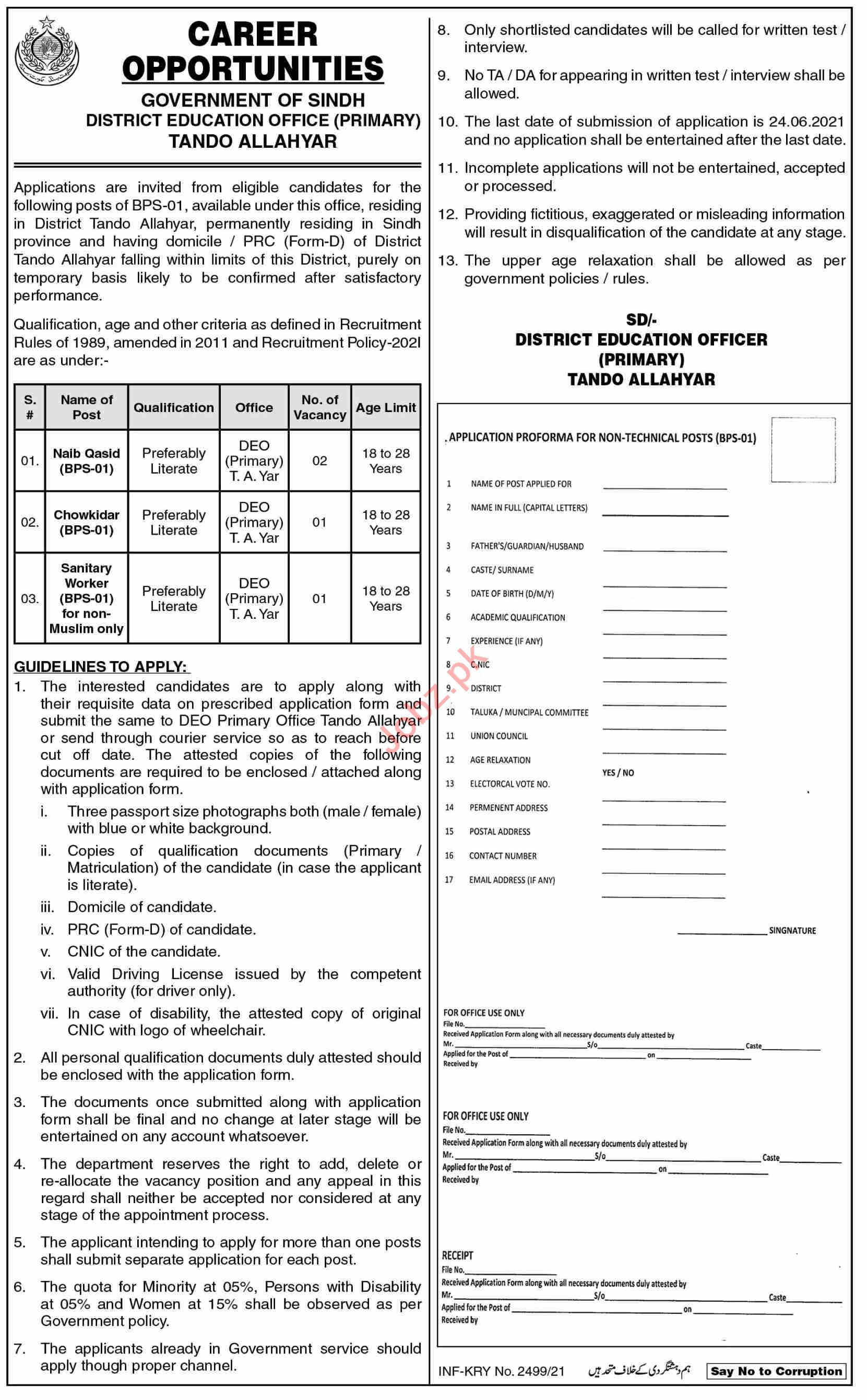 District Education Officer DEO Primary Tando Allahyar Jobs