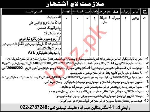 Pak Army 41 Signal Battalion Hyderabad Cantt Jobs 2021