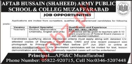 Army Public School & College APS&C Aftab Hussain Jobs 2021