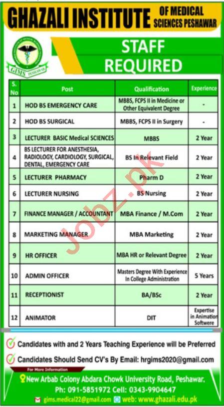 Ghazali Institute of Medical Sciences GIMS Jobs 2021