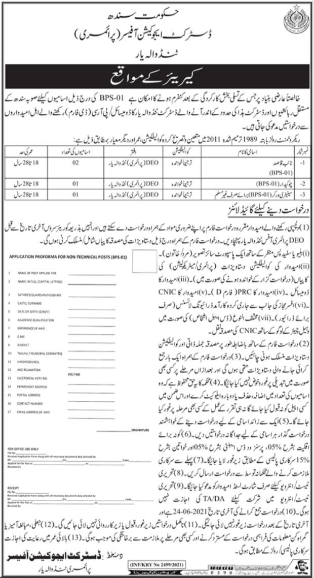 District Education Office Tando Allahyar Jobs 2021
