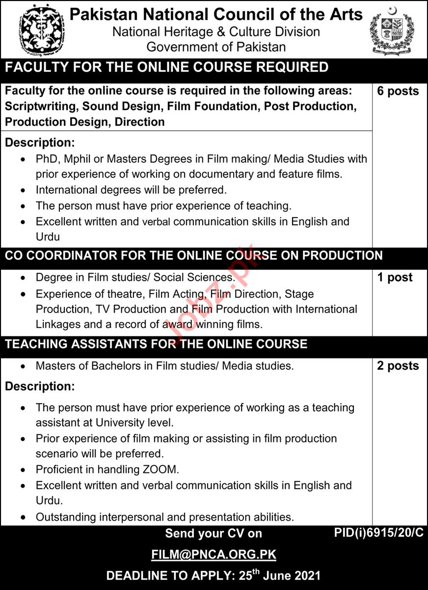 Pakistan National Council of the Arts Islamabad Jobs 2021