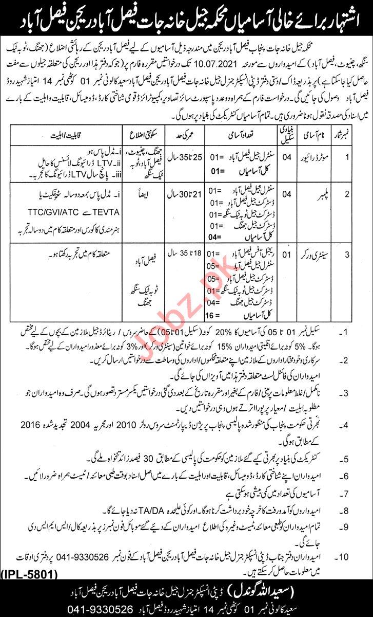 Jail Department Faisalabad Region Jobs 2021 for Motor Driver