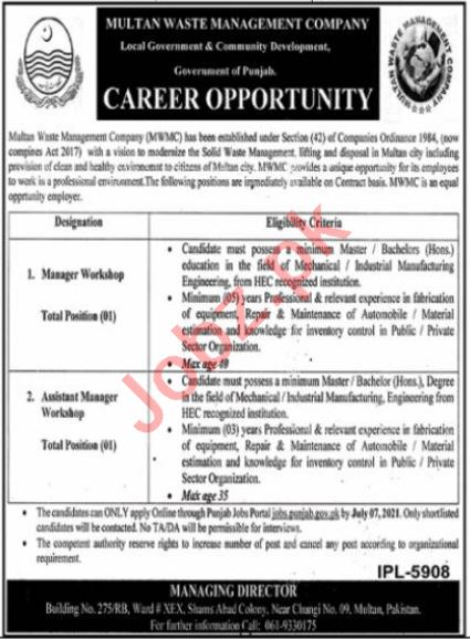 Multan Waste Management Company MWMC Jobs 2021